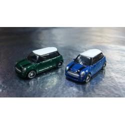 "* Herpa Cars 065252-003  Passenger Car Set ""Mini Cooper"" 1 x British Racing Green & 1 x Lightning Blue"