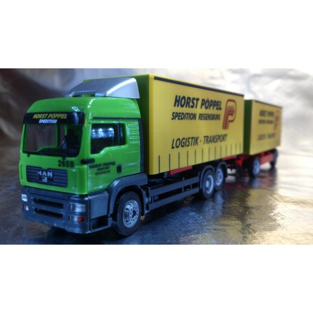 "* Herpa Trucks 281010  MAN TGA LX interchange curtain canvas trailer ""Pöppel"""