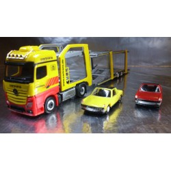 * Herpa 305853 Set B MB Actros Bigspace Eurolohr Cartrans + 2 VW Porsche 924 Cars