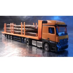 * Herpa Trucks 303231-WL  Mercedes-Benz Actros Streamspace 2.3 Lowliner Stake Semitrailer - With Wood Tree Trunks Load