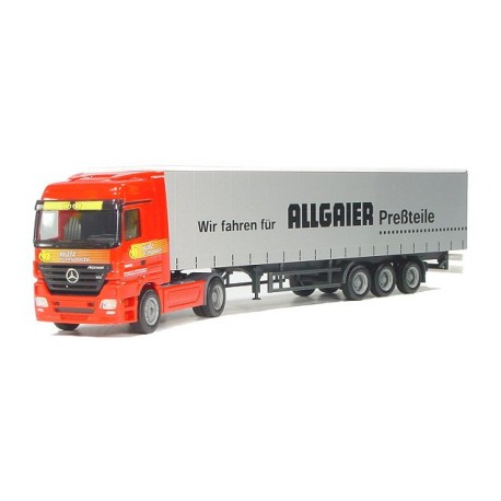 "* Herpa Trucks 265003  Mercedes-Benz Actros LH curtain canvas semitrailer ""allgaier/Walz"""