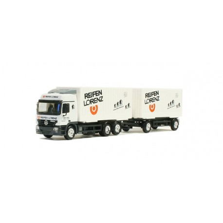 "* Herpa Trucks 277303  Mercedes-Benz Actros L interchangeable cargo box trailer ""Lorenz tires"""