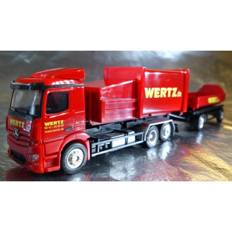 "* Herpa Trucks 307437  Mercedes-Benz Antos garbage container trailer ""Wertz Aachen"""