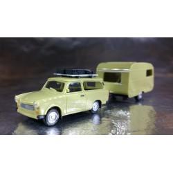 * Herpa Cars 028790  Trabant 601 Universal with roof rack and Qek Junior Caravan