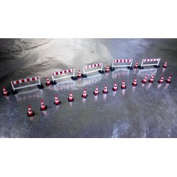 * Herpa Trucks and Cars 052566  Enhance your models with this set of Traffic cones (20 pieces), barriers (5 pieces)