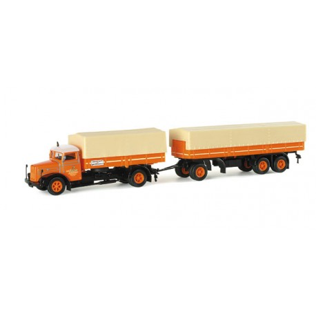 "* Herpa Trucks 154277  MAN F8 canvas cover trailer ""Hauser"""