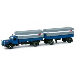 """* Herpa Trucks 157186  Henschel HS 140 canvas trailer """"Fern Schnell Gut"""""""