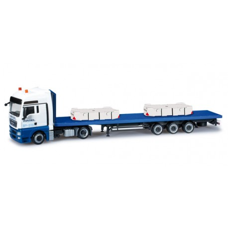 "* Herpa Trucks 302609  MAN TGX XXL lowliner semitrailer with ballast weight for Liebherr LR 1600/2 ""Wasel Krane"""