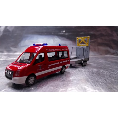 """* Herpa Trucks 093255  VW Crafter Bus HD with safety traffic trailer """"Feuerwehr Nittenau"""" (Fire Station Nittenau)"""