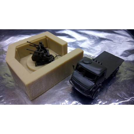 * Herpa Military 743082  Unimog S Vehicle with Anti Aircraft Gun (kit)