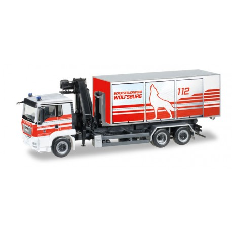 * Herpa Trucks 092647  MAN TGS L Euro 5 roll-off dump with loading crane Wiesbaden fire department""
