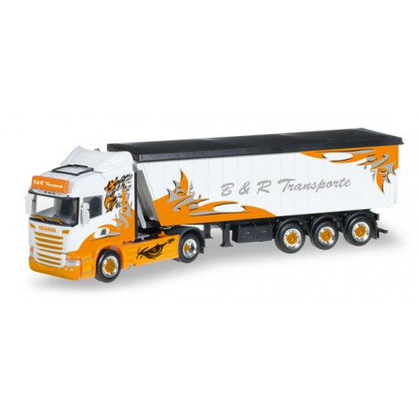 "* Herpa Trucks 306287  Scania R HL Stöffel-Liner truck semitrailer ""B&R Transporte / Arrow Hunter"""