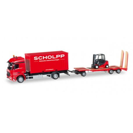 "* Herpa Trucks 306232  Mercedes-Benz Arocs container truck with TU3 and fork lifter ""Scholpp"""