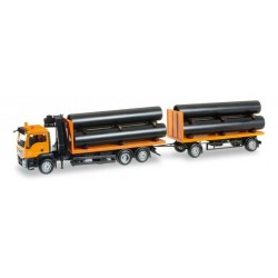 * Herpa Trucks 305631  MAN TGS M flatbed trailer with loading crane and loading