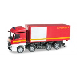 "* Herpa Trucks 091589  Mercedes-Benz Actros Streamspace 4-axle roll-off container truck ""fire department"""