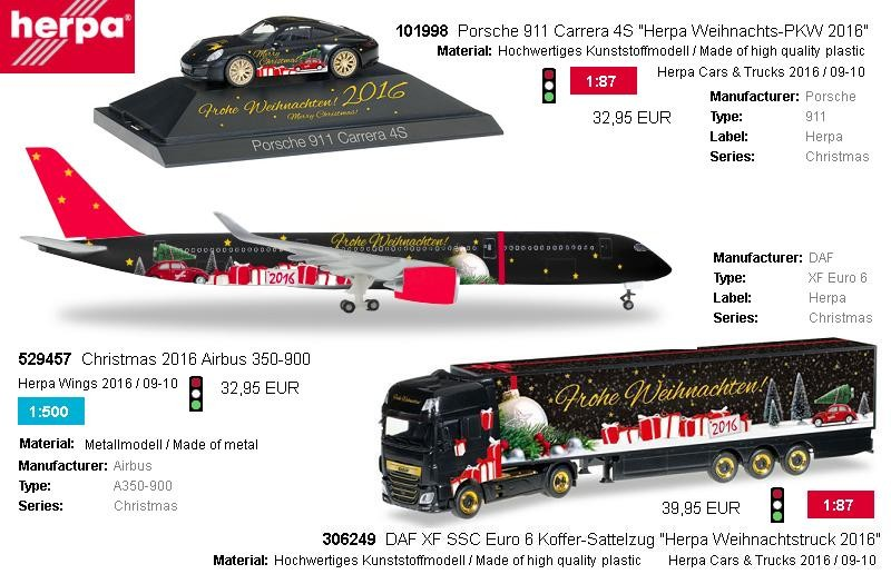 This year Christmas Models from Herpa for your collection