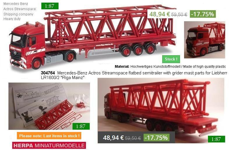 "Herpa Trucks 304764  MB Actros Streamspace flatbed semitrailer with grider mast parts for Liebherr LR1600/2 ""Riga Mainz"""